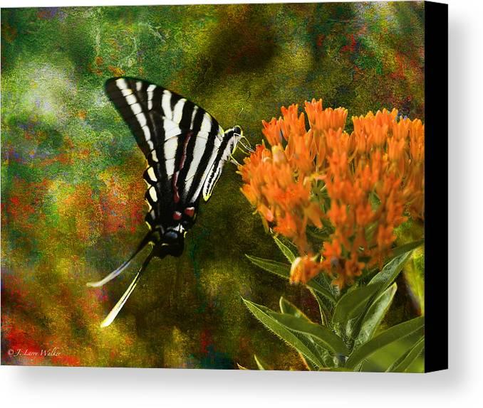 J Larry Walker Canvas Print featuring the digital art Hungry Little Butterfly by J Larry Walker