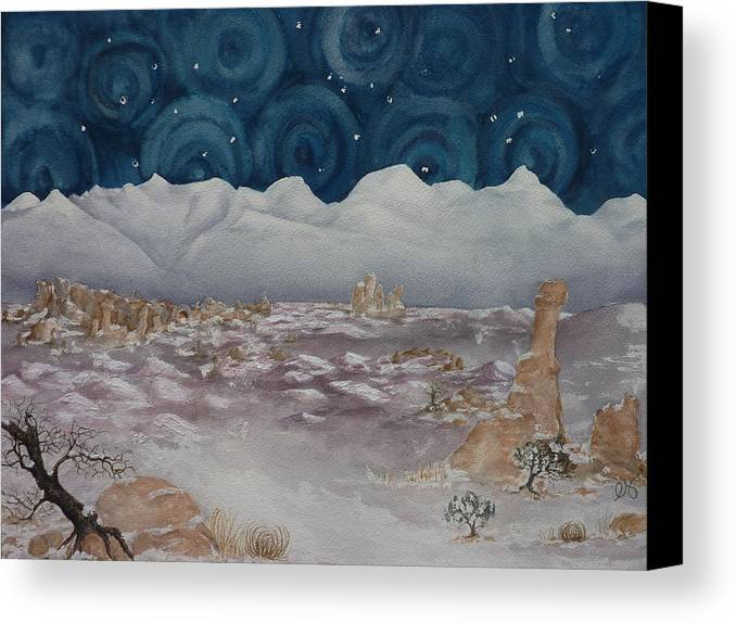 Utah Canvas Print featuring the painting La Sal Mountains In The Snow by Estephy Sabin Figueroa
