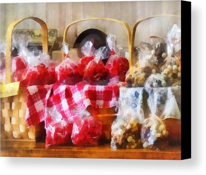 Candy Canvas Print featuring the photograph Licorice And Chocolate Covered Peanuts by Susan Savad