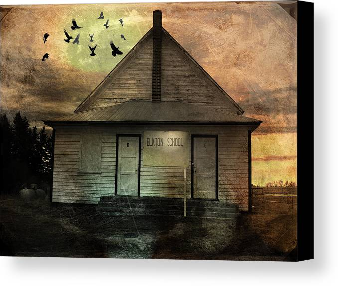 Building Canvas Print featuring the mixed media Old School by Janet Kearns