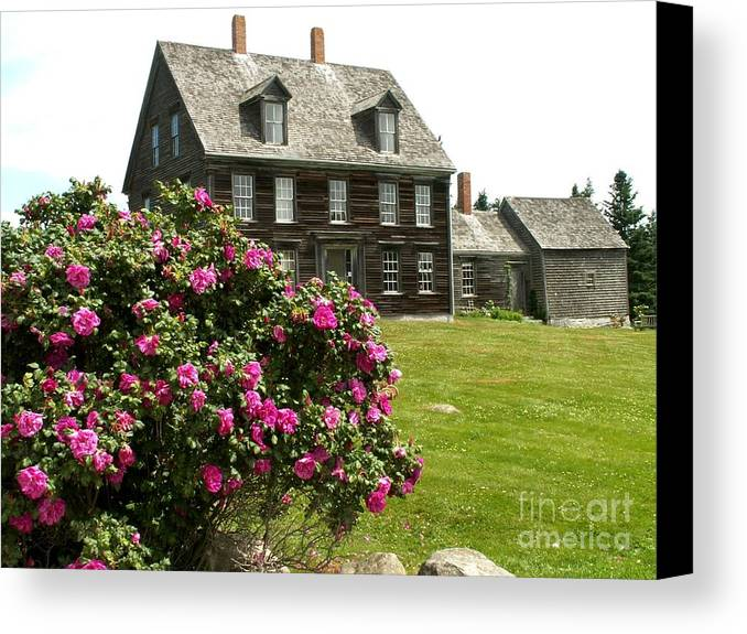 Olson House Canvas Print featuring the photograph Olson House With Flowers by Theresa Willingham
