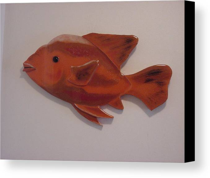 Fish Canvas Print featuring the mixed media Orange Fish by Val Oconnor