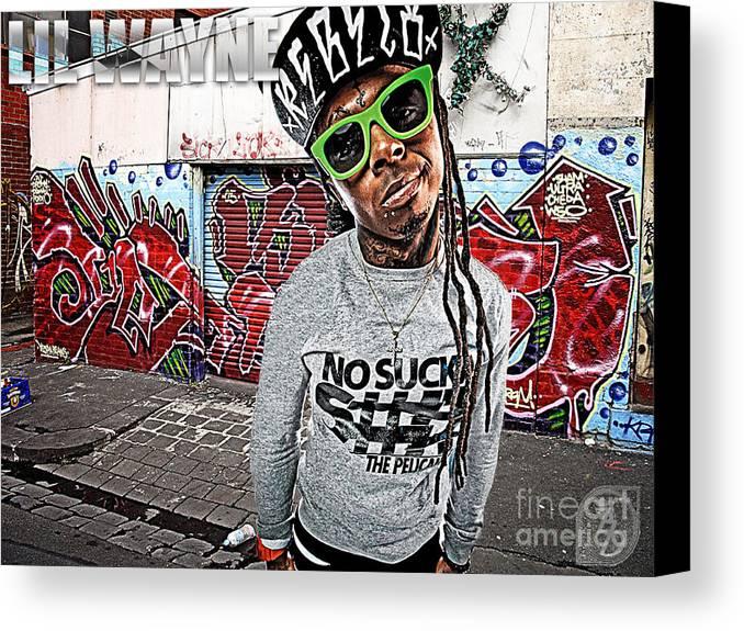 Little Wayne Canvas Print featuring the digital art Street Phenomenon Lil Wayne by The DigArtisT