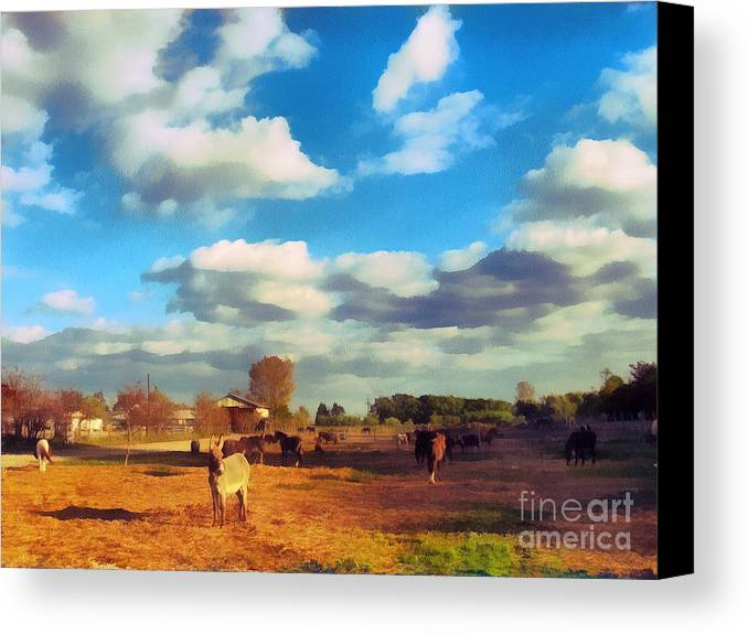 Odon Canvas Print featuring the painting The Farm by Odon Czintos