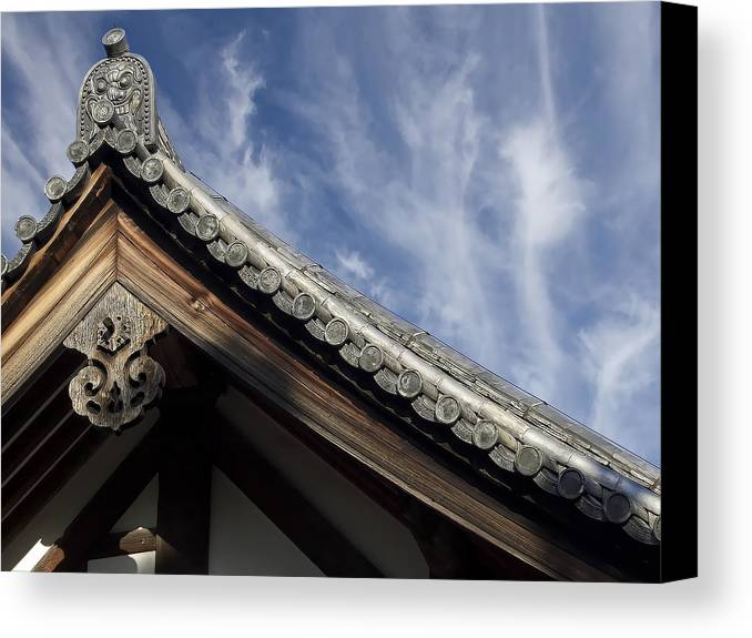 Japan Canvas Print featuring the photograph Toshodai-ji Temple Roof Gargoyle - Nara Japan by Daniel Hagerman