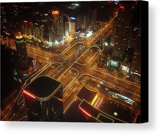 Horizontal Canvas Print featuring the photograph View Of Cityscape At Night by Philip M Walker