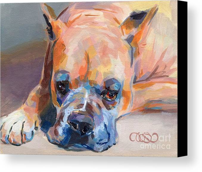 Boxer Canvas Print featuring the painting Andre by Kimberly Santini
