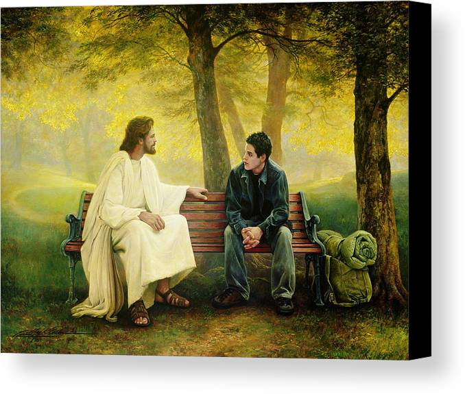 Jesus Canvas Print featuring the painting Lost And Found by Greg Olsen