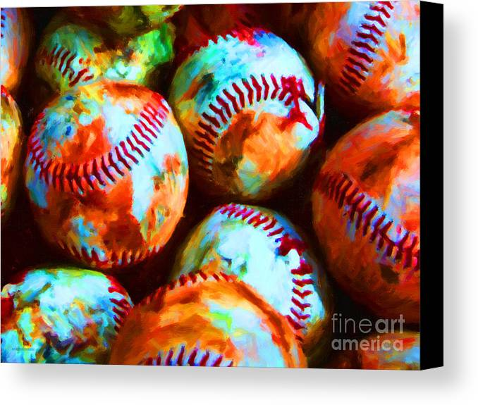 Baseball Canvas Print featuring the photograph All American Pastime - Pile Of Baseballs - Painterly by Wingsdomain Art and Photography