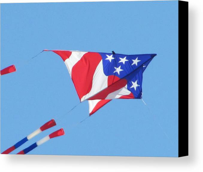 Kite Fyling Canvas Print featuring the photograph American Flag Kite by Gregory Smith