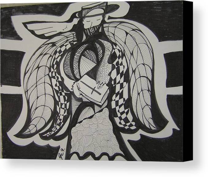 Angel Canvas Print featuring the drawing Angel Receiving Prayer by Jimmy King