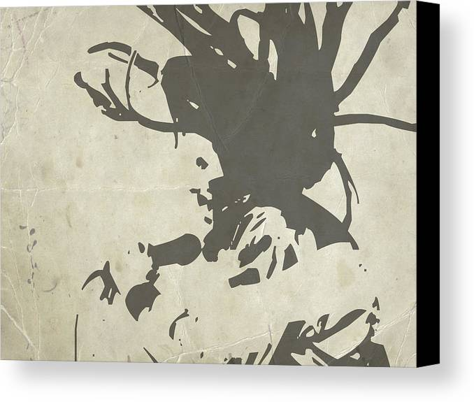 Bob Marley Canvas Print featuring the painting Bob Marley Grey by Naxart Studio