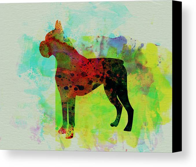 Boxer Canvas Print featuring the painting Boxer Watercolor by Naxart Studio