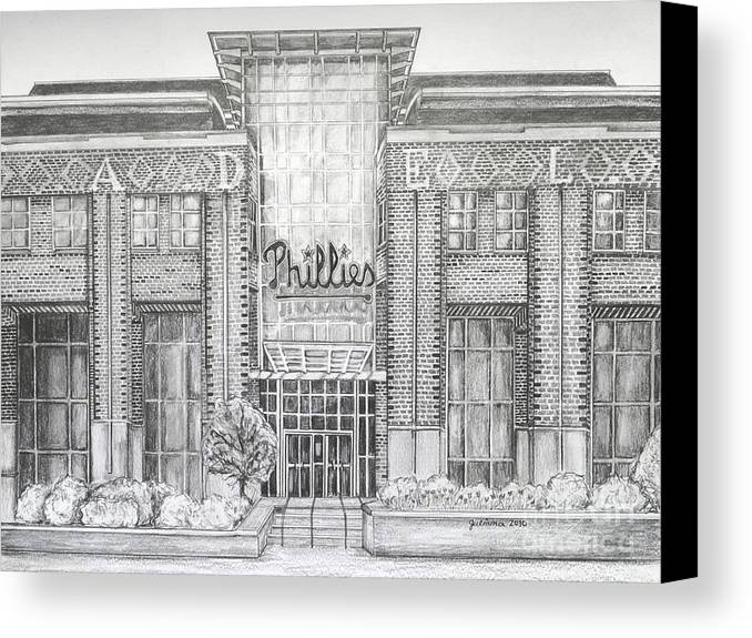 Citizens Bank Park Canvas Print featuring the drawing Citizens Bank Park by Juliana Dube