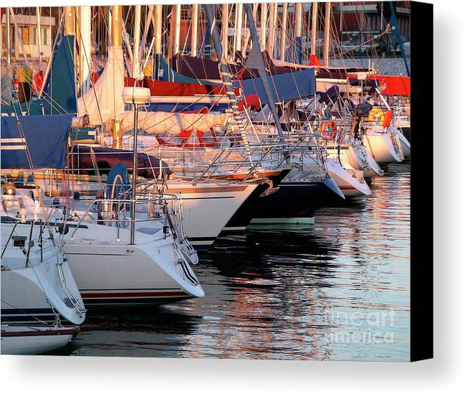 Anchor Canvas Print featuring the photograph Docked Yatchs by Carlos Caetano