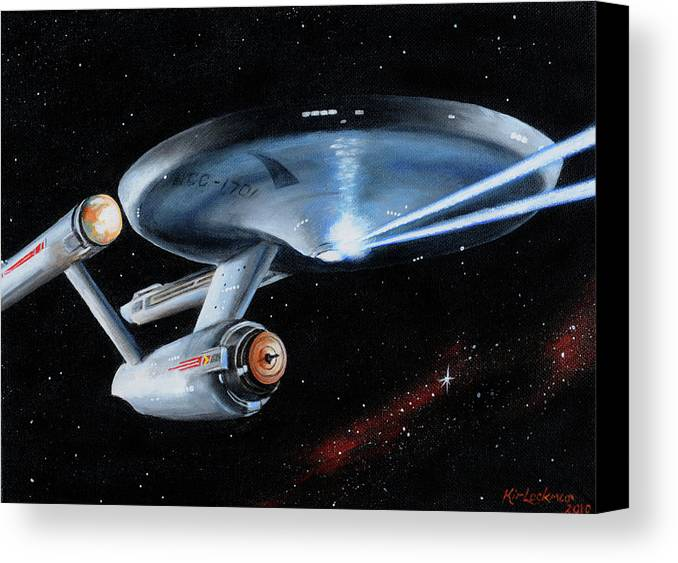 Star Trek Canvas Print featuring the painting Fire Phasers by Kim Lockman