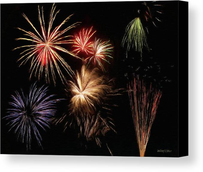 Fireworks Canvas Print featuring the painting Fireworks by Jeff Kolker