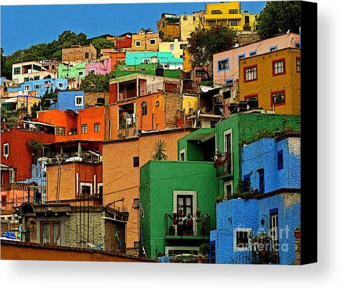 Darian Day Canvas Print featuring the photograph Guanajuato Hillside 1 by Mexicolors Art Photography