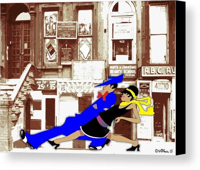 Harlem Canvas Print featuring the digital art Harlem Strut by Walter Oliver Neal