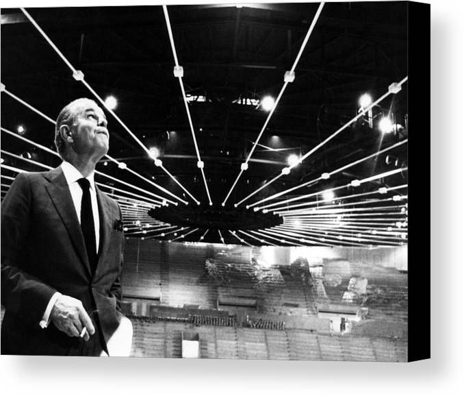 1960s Canvas Print featuring the photograph Jack Kent Cooke In The Forum Sports by Everett