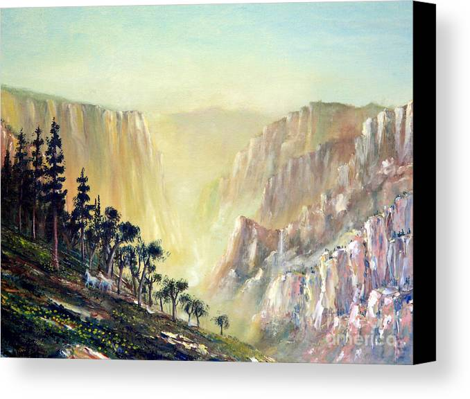 Mountain Canvas Print featuring the painting Mountain Of The Horses 1989 by Wingsdomain Art and Photography