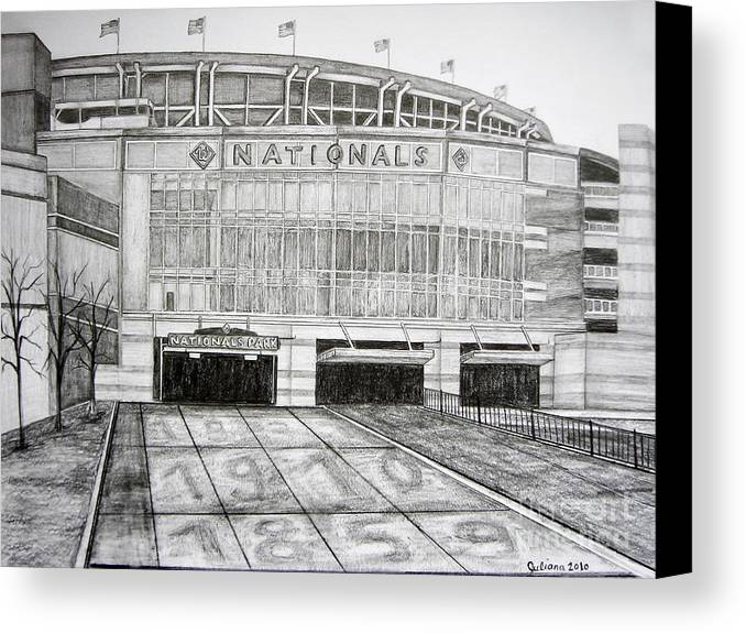 Nationals Park Canvas Print featuring the drawing Nationals Park by Juliana Dube