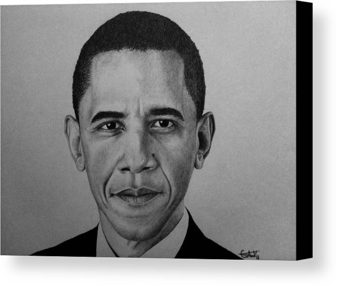 Obama Canvas Print featuring the drawing Obama by Carlos Velasquez Art