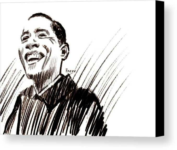 Barack Obama Canvas Print featuring the drawing Obama by Michael Facey