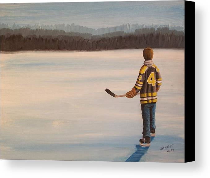 Bobby Orr Canvas Print featuring the painting On Frozen Pond - Bobby by Ron Genest