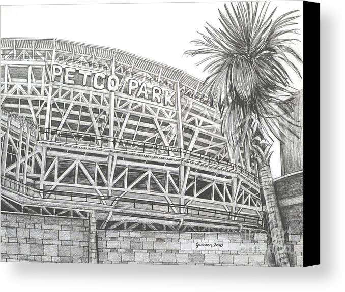 Petco Park Canvas Print featuring the drawing Petco Park by Juliana Dube
