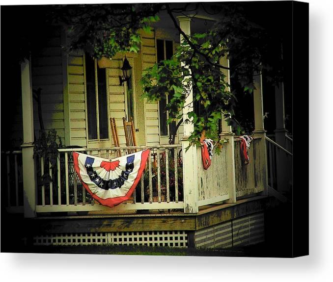 Porch Canvas Print featuring the photograph Porch Flag by Michael L Kimble