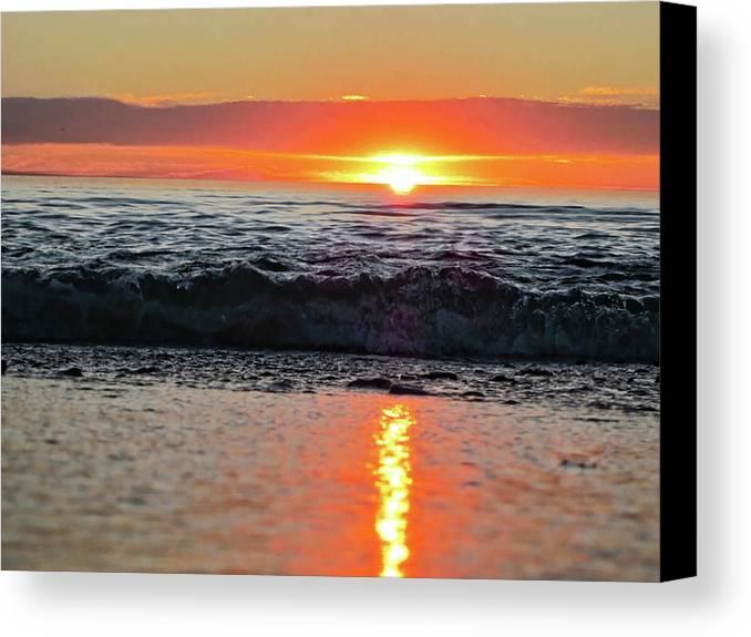 Waves Canvas Print featuring the photograph Sunset Beach by Douglas Barnard