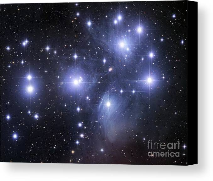 Astronomy Canvas Print featuring the photograph The Pleiades by Robert Gendler