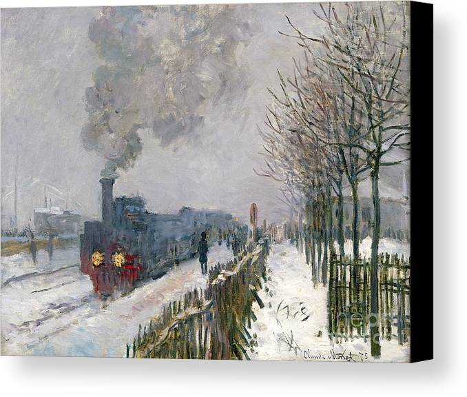 Train Canvas Print featuring the painting Train In The Snow Or The Locomotive by Claude Monet