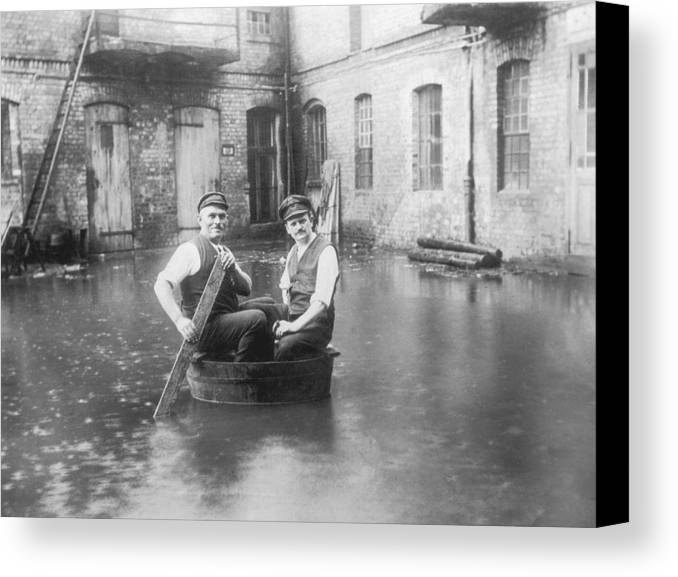 40-44 Years Canvas Print featuring the photograph Two Men In A Tub by Fpg