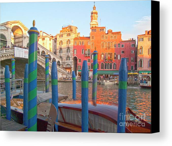 Venice Canvas Print featuring the photograph Venice Rialto Bridge by Heiko Koehrer-Wagner