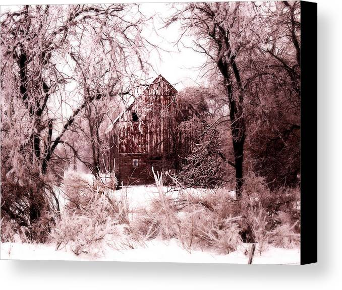 Barn Canvas Print featuring the photograph Winter Wonderland Pink by Julie Hamilton