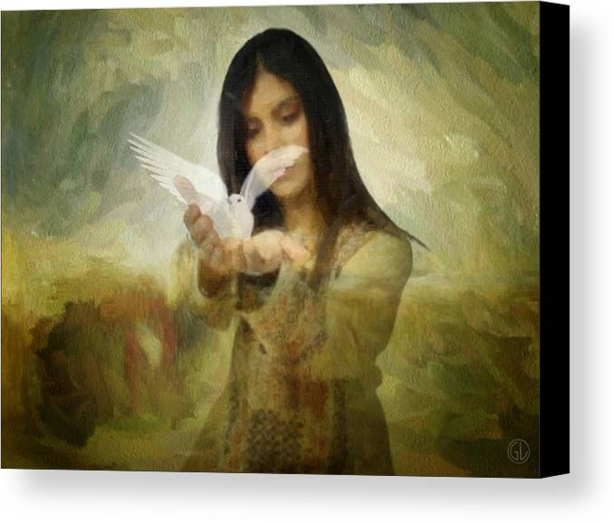 Woman Canvas Print featuring the digital art You Bird Of Freedom And Peace by Gun Legler