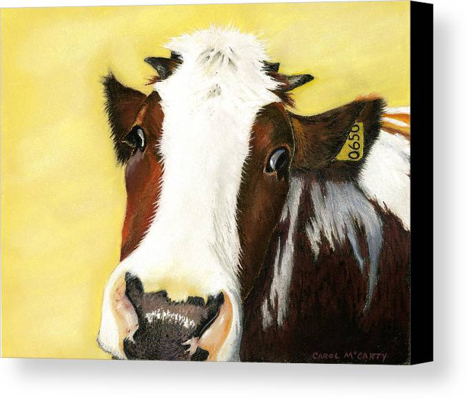 Kitchen Canvas Print featuring the painting Cow No. 0650 by Carol McCarty