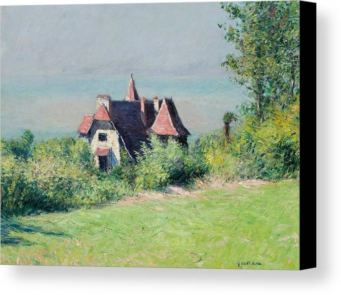 Impressionist; Landscape; Rural; Countryside; France; French; En Plein Air; Plein Air; Villa; Trouville; Resort; Holiday; Vacation; Coast; Coastal; Seaside; House; Home; Impressionism; Gustave; Caillebotte; Fresh Air; Relax; Tranquil; Tranquility; Serene; Serenity; Calm; Peaceful; Break; Country; Field; Grass; Nature; Idyllic; Natural; Rustic; Quaint; Escape; Safe Haven; Refuge; Peace Of Mind; Halcyon; One With Nature; Garden; Sky; Blue; Green; Greenery; Brick Red; Homely; Quotidian; Normality Canvas Print featuring the painting A Villa At Trouville by Gustave Caillebotte