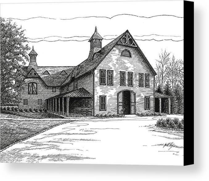 Belle Meade Plantation Canvas Print featuring the drawing Belle Meade Plantation Carriage House by Janet King
