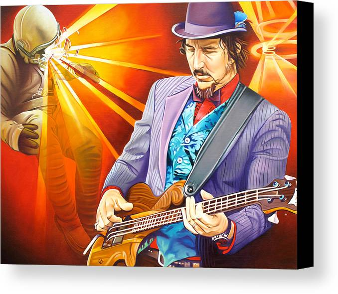 Les Claypool Canvas Print featuring the painting Les Claypool's-sonic Boom by Joshua Morton