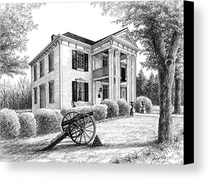 Battle Of Franklin Canvas Print featuring the drawing Lotz House by Janet King