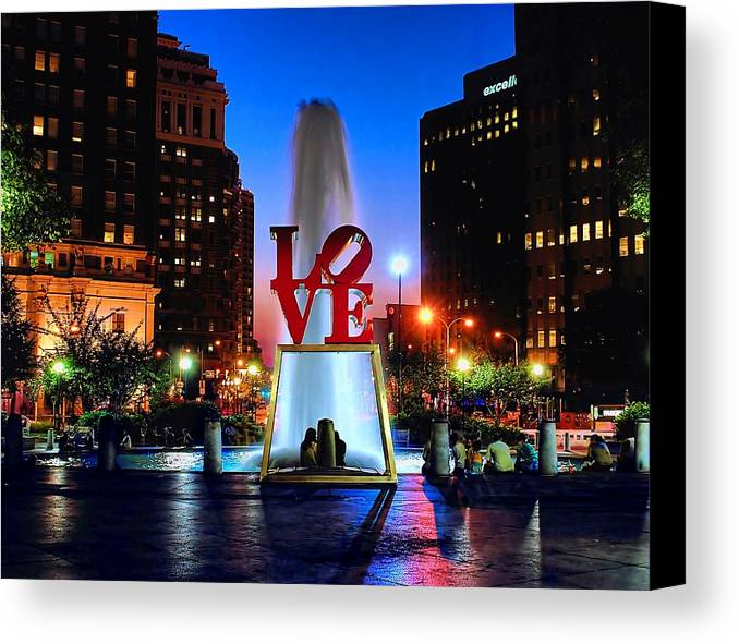 America Canvas Print featuring the photograph Love At Night by Nick Zelinsky
