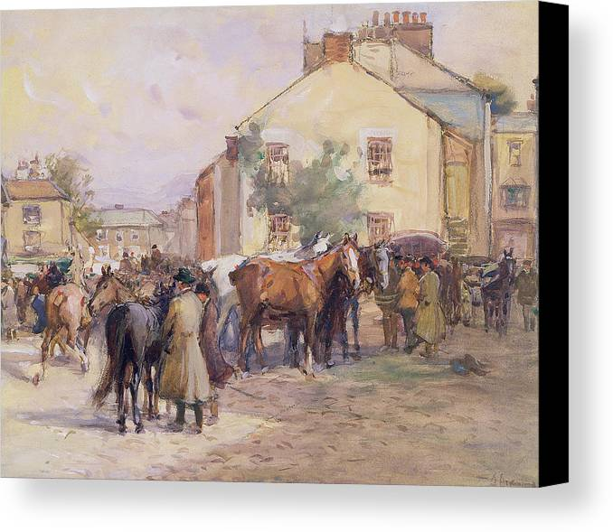 Horse Canvas Print featuring the painting The Horse Fair by John Atkinson