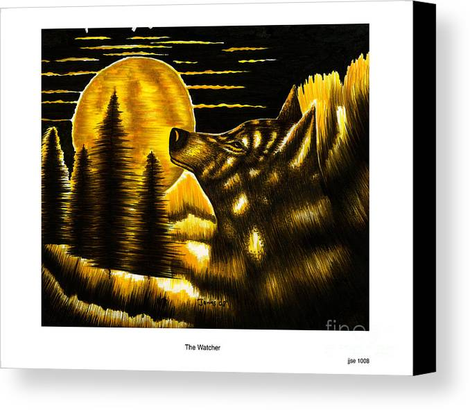 Moon Canvas Print featuring the drawing The Watcher by Jonas Jeque