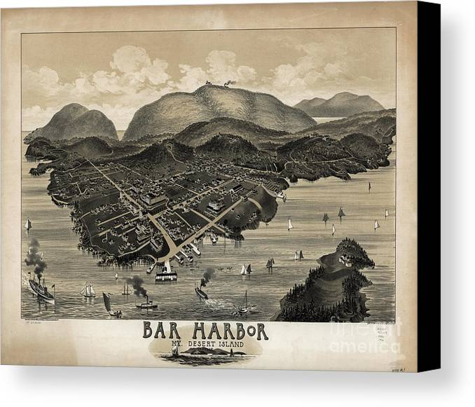 Acadia Canvas Print featuring the photograph Vintage Bar Harbor Map by Edward Fielding