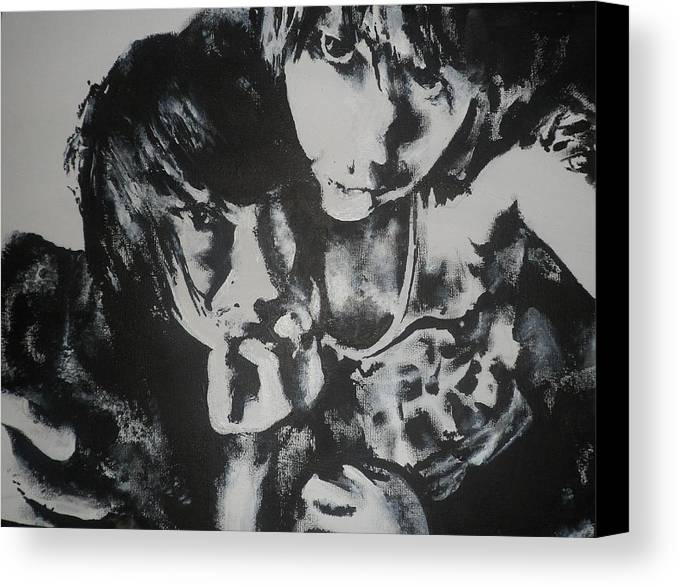 Black Canvas Print featuring the painting Young Lovers by Cherise Foster