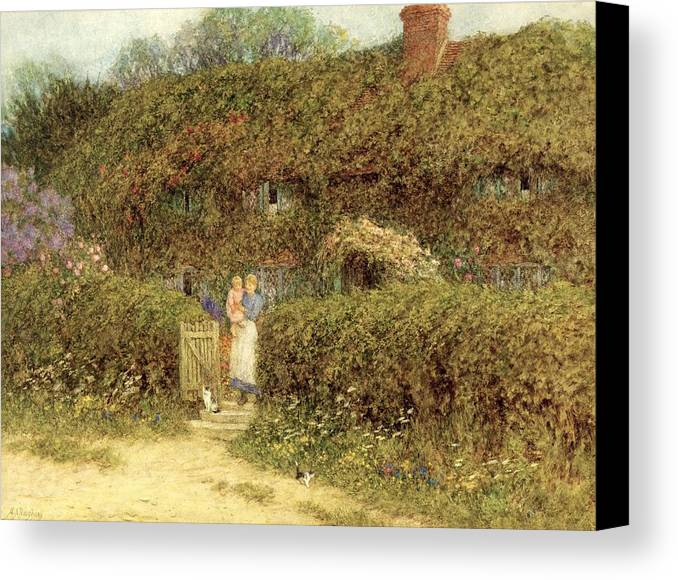 Mother And Child; Gate; Rural Scene; Country; Countryside; Home; Path; Garden; Wildflowers; Roses; Picturesque; Idyllic; Daughter; Cat; Vines; House; Female Canvas Print featuring the painting A Cottage At Freshwater Isle Of Wight by Helen Allingham