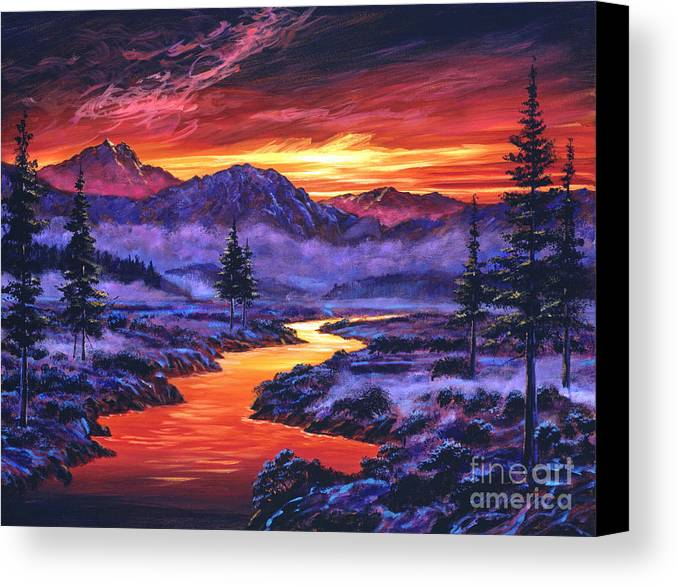 Landscape Canvas Print featuring the painting Early Morning Frost by David Lloyd Glover
